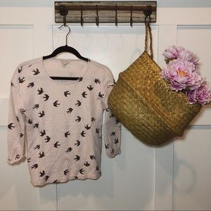 Sonoma Lifestyle Light Pink Quilted Bird Top